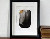 abstrakte Kunst, Tusche-Malerei, Gold und schwarz, Landschaft bei Nacht, original-Artworks, Aquarell Kunst, dunkle Kunst, Berg-Szene, Mond