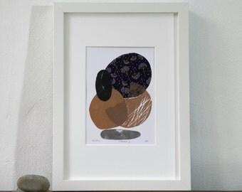 Blockprint, paper collage, linocut, original artwork, abstract art, fine art, print art, nature, minimalistic, scandi, geometric, landscape