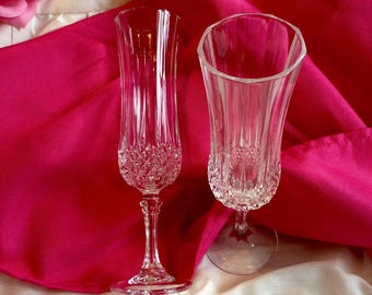 Set of two (2) Lead Crystal champagne flutes
