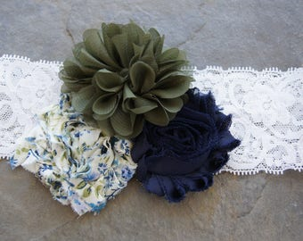 Navy and Olive Floral 3 flower