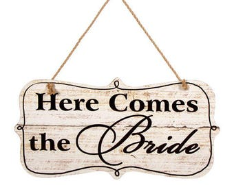 Here Comes the Bride Sign with Jute Hanger