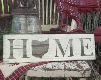 SALE! Barnwood Rustic White HOME/OHIO Sign