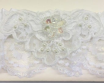Wedding Garter White Satin And Lace Prom Bachelorette Sequins
