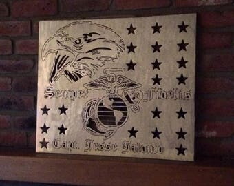 Marines Eagle and Globe 2' Customizable Wall Plaque