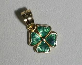 14k Yellow Gold Luckey 4 Leaf Clover Green Enameled pendant/charm
