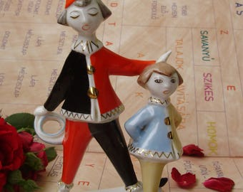 Hollohaza Art deco style porcelain,child figurine,little oys in clown costume