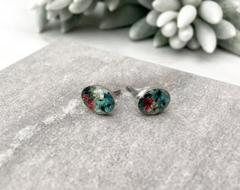 Stud Earrings, Real Flower Jewelry, Floral Stud Earrings