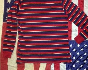 90s Striped Long Sleeve Polo (xl kids)