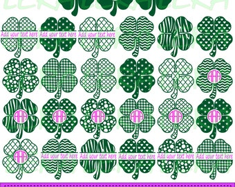 60 % OFF, Clover Svg, Monogram4 Leaf Clover Svg, Shamrock Clover svg,png,eps,dxf, Monogram vector files, Patrick's Day Clover for Silhouette