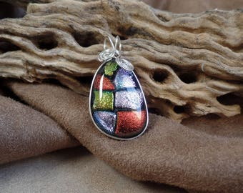 Colorful Dichroic Wire Wrapped Glass pendant 1218