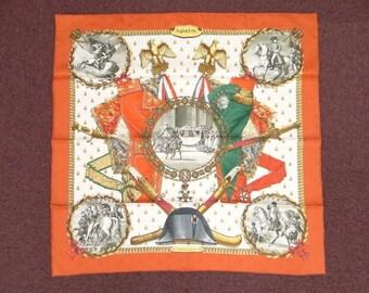 Orange Silk Scarf Silk Hermes scarves Napoleon/