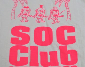 Screen Stars Best Vintage T-shirt White with Brightly Colored Hot Pink Graphic Mr. Potato Head SOC CLUB 1989-1990