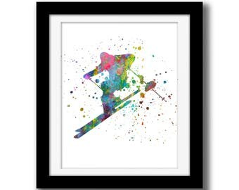 SALE - Skier Wall Art Digital Download - Rainbow Watercolor Digital Print -  Skiing Wall Decor - Wintersport - Watercolor Paint Splatter Art