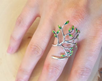 Sterling Silver Arborist Tree Ring with hand-painted enamel leaves
