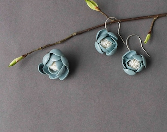 Porcelain jewelry accecories set, flower broach & earrings, sterling silver hooks, mandcrafted