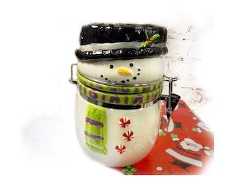 Snowman Jar with Lid - snowman decor - Lidded Jar - Covered Jar - ceramic snowman jar - #27