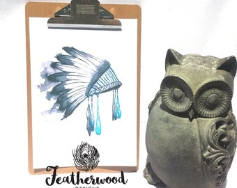 Blue Feather Headdress Art Print - Tribal Collection