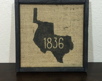 """Texas 1836 sign on reclaimed burlap sign with rustic shadow-box style frame 13.5""""x13.5"""""""