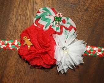 Gingerbread Man, Candy Cane, Pearl, Rhinestone and Flower Christmas Boutique Headband (17 inches Normally Fits 3T & Up)