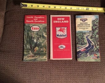 Road Maps From The 1950's (Free Shipping)