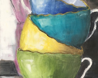 Original Oil Painting of Colourful Stacked Teacups