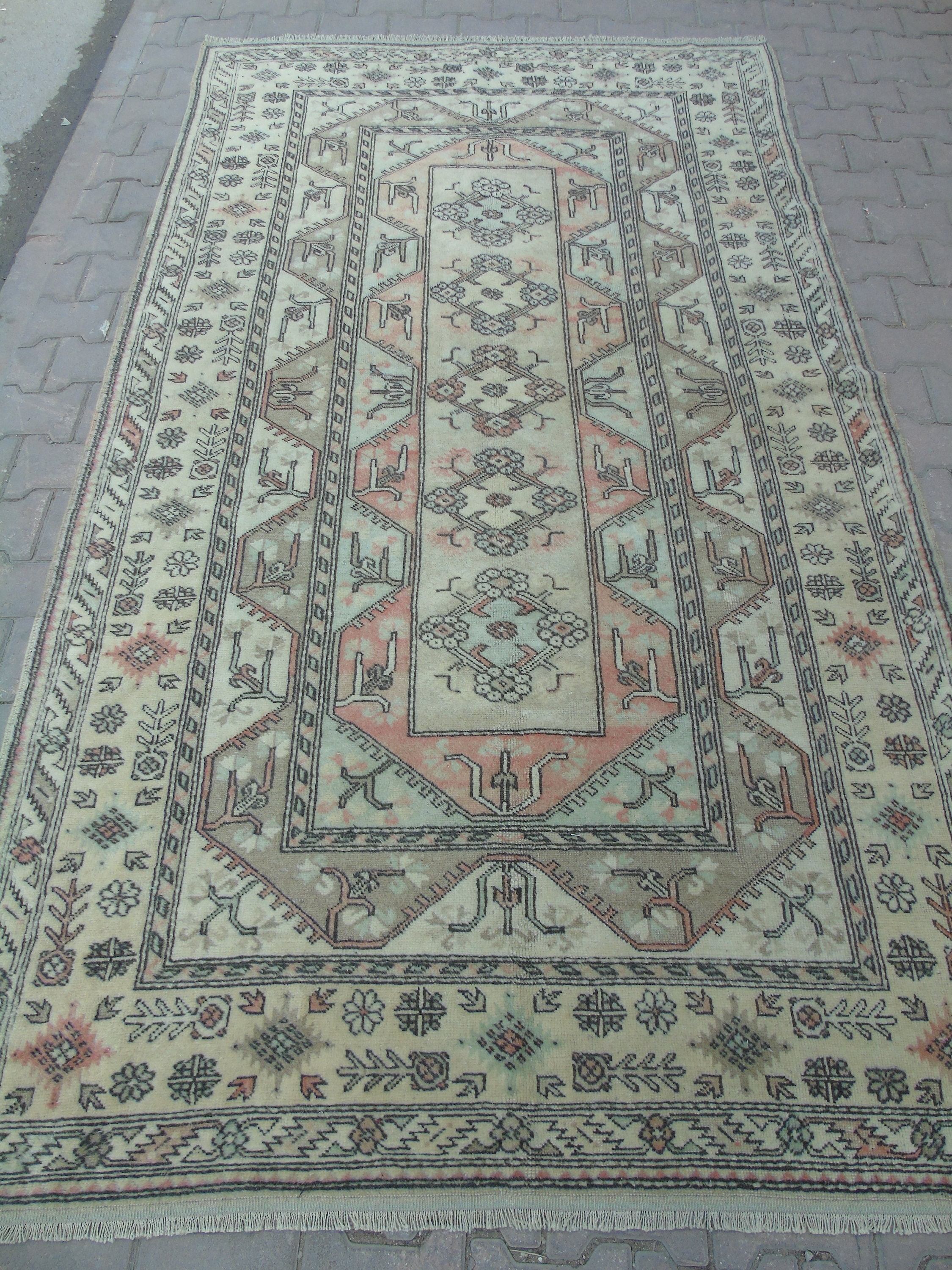 Muted Red Green Cream Colored Rug Living Room Rug Office
