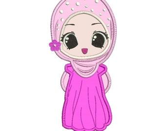 Muslim Girl Applique Design 3 sizes instant download