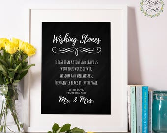 Wishing Stones Wedding sign, Guestbook sign, Bar sign, Reception sign, Chalkboard wedding Printable sign, INSTANT DOWNLOAD