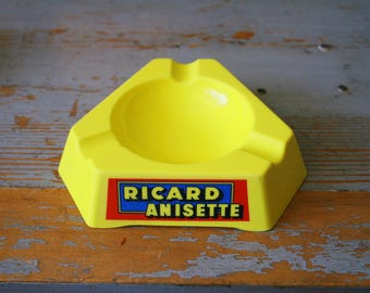 Yellow plastic Ricard ashtray - vintage from France - made in Spain