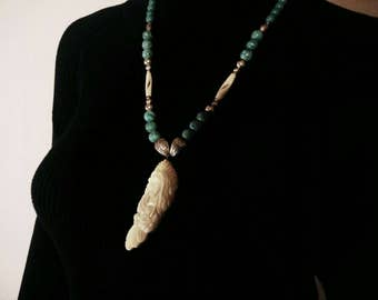 Mother's Day Necklace -  American Indian Turquoise Necklace - December Birthstone - White Buffalo Woman - Handmade Cherokee Jewelry