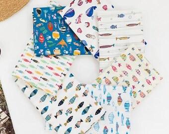 fish fabric/herring fabric/sea fish fabric/summer fabric/cottage table cloth/kitchen fabric/beach ocean fabric sea fish fabric/herring fish