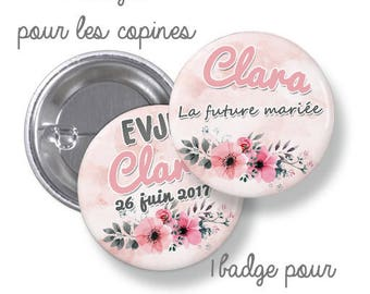 10 badges round where large metal - 44mm - customizable - model flower, romantic - girl stag
