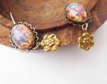 Glass opal earrings, opal earrings, vintage 1960s, vintage brass, flower earrings, sterling silver, drop earrings