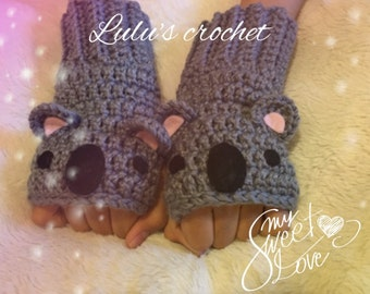 """Gloves without fingers of """"koala"""", mittens, gift for girls, gloves and mittens, mittens crochet, fingerless, gifts"""