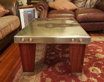 Stainless steel coffee table,steam punk coffee table, hand made, copper