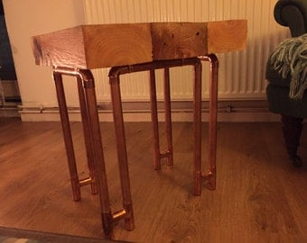 Hand made, reclaimed timber, copper leg side table.