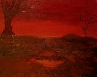 "Fall Oil Painting Landscape. 8""x10"" Print- Harvester's Dusk *frame not included*"