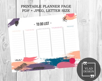 Weekly printable planner To do list Weekly Planner Pages Printable Desk Pad Weekly Agenda Week Organizer Letter size Instant Download