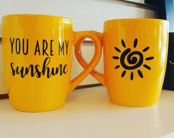 You are my Sunshine yellow 12 oz ceramic mug