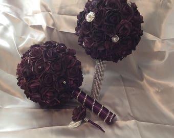Rose brooch bouquet set