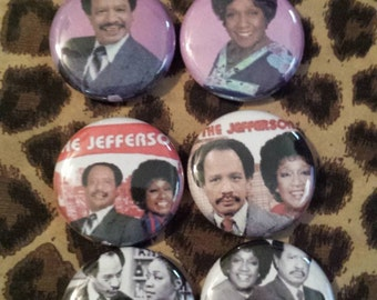 8 Pin Button set  Jeffersons 1 inch Buttons