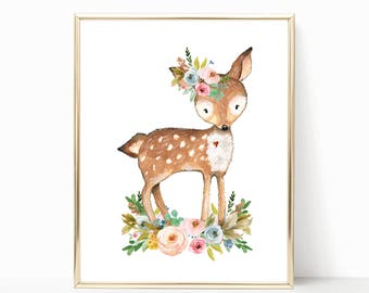 Deer Nursery Art. Deer Nursery Decor. Floral Deer Nursery Art. Woodland Nursery Prints. Girl Woodland Nursery. Woodland. Nursery Printables