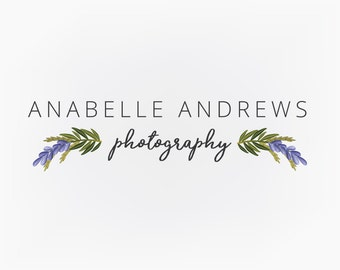 Premade Logo Design, Lavender Floral Logo, Photography Logo, Small Business Design, Blog Logo, Etsy Logo, Branding Design
