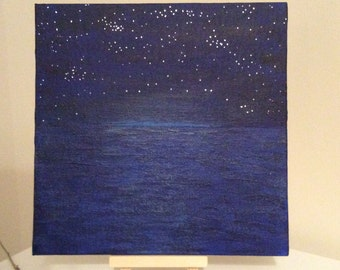 Moon rise over calm water.  Original acrylic painting