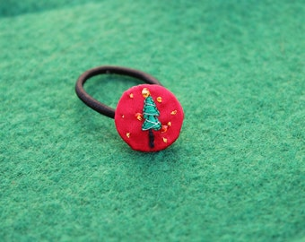 Christmas tree embroider toddler hair tie- rubber band- elastic band-young girls-stitching-beads