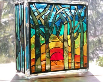 Stained Glass Mosaic Light Trees Bird Lamp Nightlight Lantern