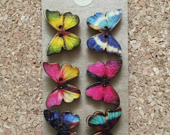Beautiful Wooden Butterfly Thumb Tacks/Push Pins for Cork Board - FREE SHIPPING!