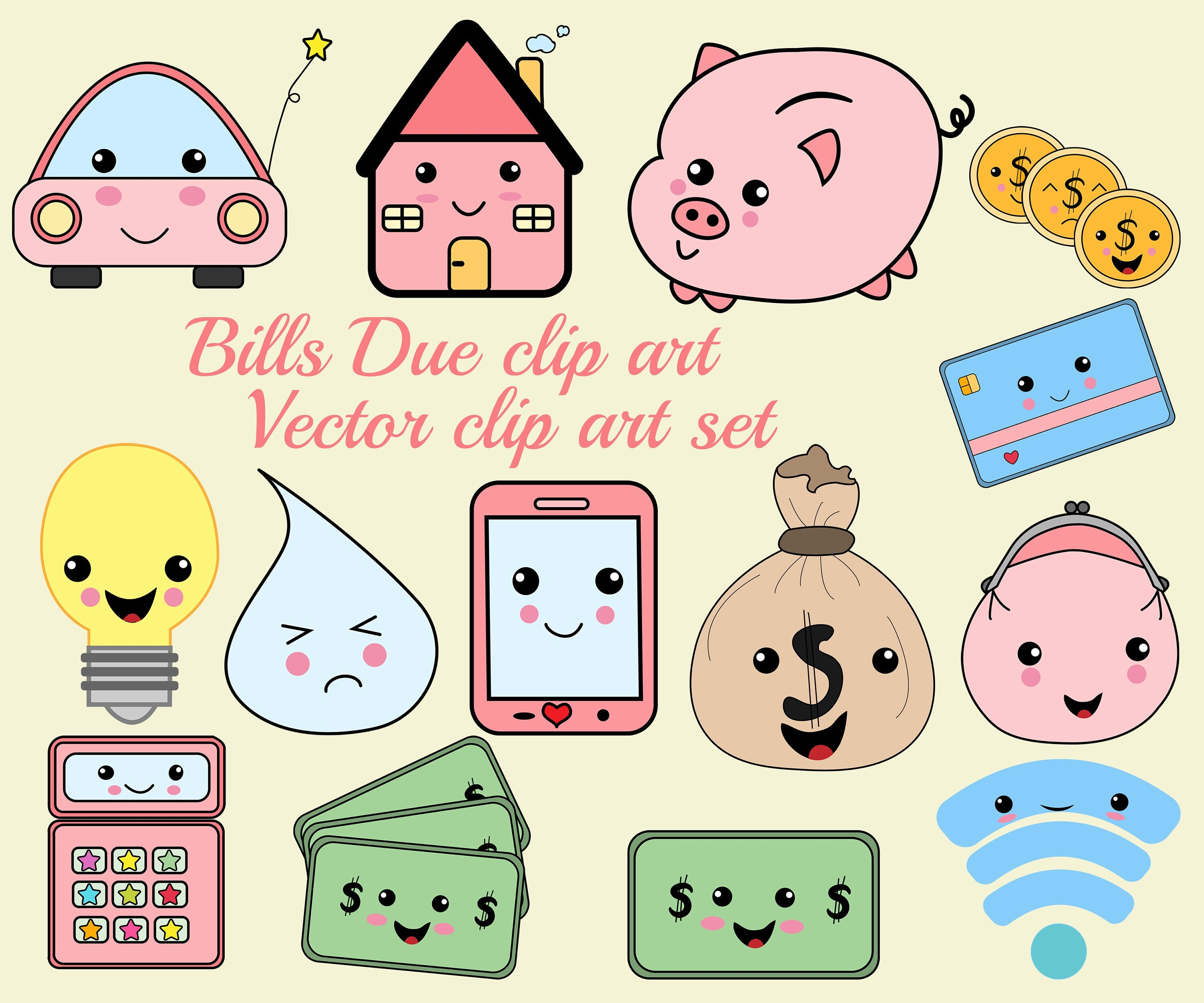 Kawaii Icons Clip Art: BILL DUE CLIPART Monthly