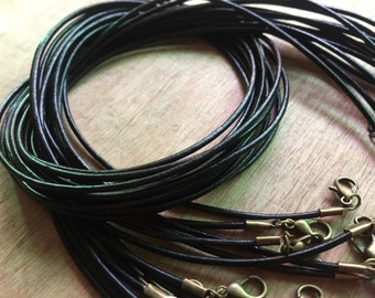 ANTIQUE BRONZE 20pieces 2.0mm Black genuine necklace cords ---for length 22-24inches
