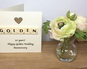 50th Wedding Anniversary Card, Golden Wedding Anniversary, Golden Anniversary Card, Scrabble Greeting Card, Fiftieth Anniversary,